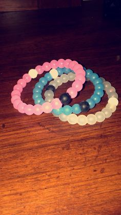 Pink, blue and clear Lokia bracelets! I love them so much! Matches with so many different things
