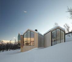 exterior split view mountain lodge