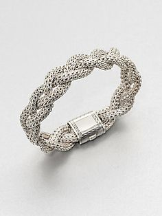 John Hardy Sterling Silver Braided Chain Bracelet/Medium