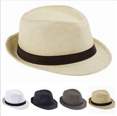 b976d998ff1 Men Women Fedora Trilby Gangster Cap Beach Sun Straw Panama Jazz Hat Sunhat  58CM