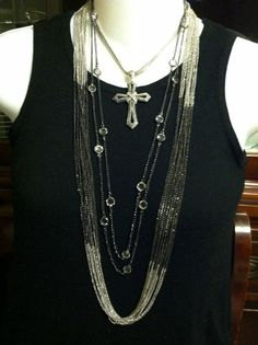 "Great Combo, Manhattan necklace, City Lights Necklace and ""Enduring"" (one of Premier's beautiful crosses) on a shorter chain!"