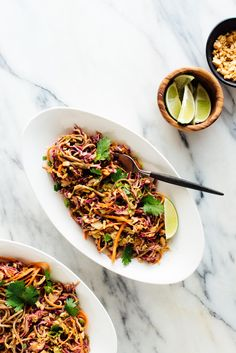 Delicious and easy slaw made with nutritious cabbage, carrots and soba noodles, topped with Asian peanut sauce! #sobanoodles #slawrecipe #healthyslaw #veganrecipe