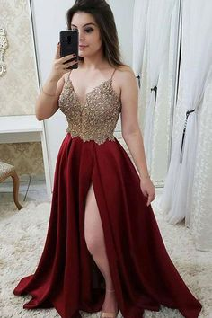 Spaghetti Straps V Neck A Line Lace Prom Dress with Split Side P937 #promdress #partydress #partygown #promdresswithsplit #Burgundydress #partyoutfits #fashiondresses Sweet 16 Dresses Gold, Gold Prom Dresses, Burgundy Bridesmaid Dresses, Elegant Prom Dresses, Beaded Prom Dress, Prom Dresses Online, 15 Dresses, Teen Prom Dresses, Long Party Dresses