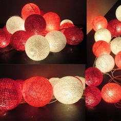 20 Mixed Coral-Red Tone Handmade Cotton Balls Fairy String Lights Party Patio Wedding Floor Table or Hanging Gift Home Decoration. $13.78, via Etsy.
