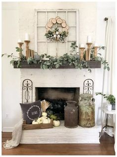 96 Beautiful Farmhouse Fireplace Mantel Decorations That Will Make – Farmhouse Room mantle decor farmhouse Decoration Bedroom, Diy Home Decor, Living Room With Fireplace, Fireplace Mantle, Fireplace Ideas, Fireplace Makeovers, Rustic Fireplace Decor, Fireplace Design, Small Fireplace