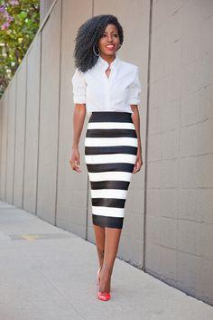 Button-Down Shirt + Striped Pencil Midi Skirt