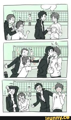 a little push is all it takes . Haikyuu Kageyama, Haikyuu Funny, Haikyuu Fanart, Comic Anime, Anime Comics, Manga Anime, Daisuga, Kagehina, Iwaoi