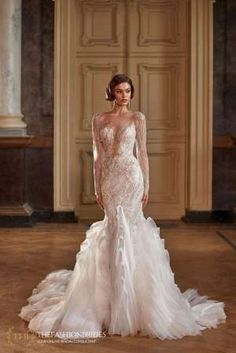 Milla Nova 2021 Spring Bridal Collection – The FashionBrides Lace Mermaid Wedding Dress, Wedding Dresses, Embellished Skirt, Gowns With Sleeves, Aaliyah, Beaded Lace, Bridal Collection, Tulle, Sequins
