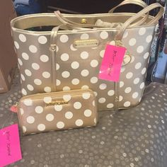 Betsey Johnson Hocus Polkas Gold Tote Brand new.. Betsey Johnson Gold Tote and Matching Wallet. Both brand new with tags.. Betsey Johnson Bags Totes