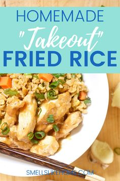 """Use up your leftover rice to make this """"takeout fakeout"""" fried rice. It's easy to make, and tastes just as good (or better!) than what you order at the restaurant with no questionable ingredients. Quick Dinner Recipes, Whole 30 Recipes, Pork Recipes, Brunch Recipes, Rice Recipes, Healthy Recipes, Quick Weeknight Dinners, Cheap Dinners, Easy Meals"""