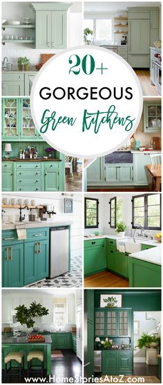 Tired of all white kitchens? Then this post is for you! Green kitchen cabinets are trending right now! Enjoy the inspiration of these Gorgeous Green Kitchen Cabinets.An all-white kitchen i Teal Kitchen Cabinets, Green Cabinets, Kitchen Cabinet Design, Painting Kitchen Cabinets, Kitchen Walls, Oak Cabinets, White Cabinets, Kitchen Backsplash, Green Kitchen Decor