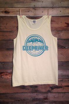 Deep River Outfitters logo tank. seafoam on banana tank