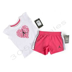 2f6a57f789b  40 Nike Air Jordan Toddler Girl s Outfit Set Short and Shirt Top  White Pink NEW