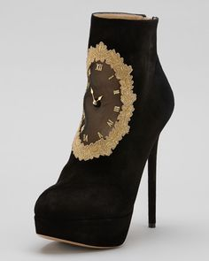 Charlotte Olympia - On Time Clock Face Suede Ankle Boot
