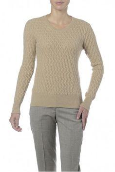 Girocollo beige in puro cashmere. Maglia girocollo donna effetto intrecciato. 100% cashmere.