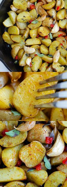 Greek Roasted Potatoes – easy and delicious roasted potatoes with garlic, oregano, olive oil and red bell peppers. Takes only 20 mins   rasamalaysia.com