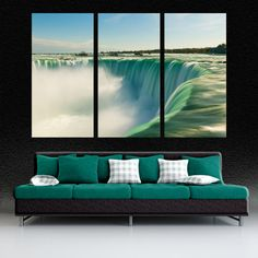 horseshoe falls during the day 3 panel split canvas print triptych on deep frames nature photography print for room interior design