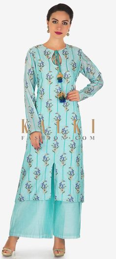 Buy Online from the link below. We ship worldwide (Free Shipping over US$100)  Click Anywhere to Tag  Sky blue straight palazzo suit in cotton silk with resham and zari work only on Kalki Sky blue straight suit featuring in cotton silk. Its embellished in resham and zari embroidery along with fancy tie up with key hole neckline. Matched with blue palazzo pant.