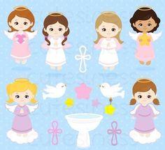 kits scrapbook digital batizado menina