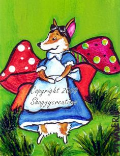 Alice in Wonderland ~ Original corgi art by Valerie Brock ~ shaggycreations