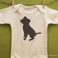Pit Bull baby one-piece bodysuit or toddler t-shirt - You pick the fabric. $22.00, via Etsy.