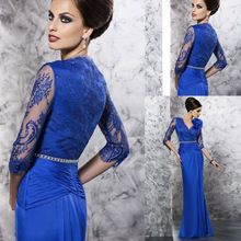 Custom Made Royal Blue Chiffon Half Sleeve Pleated Lace Applique V-Neck Floor Length Elegant Mother Of The Groom Dresses(China (Mainland))