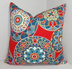 OUTDOOR Red Blue Yellow Medallion Pillow Cover Outdoor Porch Deck Pillow Cover 18x18