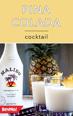 Piña Coladas are a must-have cocktail for spring and summer. Whip up this classic cocktail by checking out this simple recipe from BevMo! Coconut rum, coconut cream, pineapple juice, and pineapple slices are all you'll need. Coconut Rum, Spring Cocktails, Classic Cocktails, Easy Pina Colada Recipe, Wine And Liquor Store, Rum Cream, Caribbean Rum, Pineapple Slices