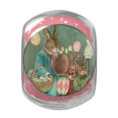 Vintage Easter Holiday Glass candy jar