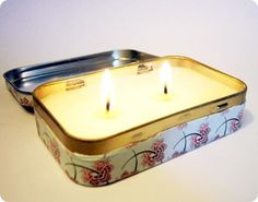 """Altoid Tin Crafts (over 15 ideas!)...I particularly like the idea for a travel candle. I really hate going into a stuffy, """"dead air"""" hotel/motel room or where someone before us smoked (even in a NON-SMOKING room!!). This will really solve that issue & it's much handier & less trouble than a votive candle & holder."""
