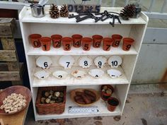 Outdoor maths station … play areas eyfs Play More Month - DaddiLife Outdoor Education, Outdoor Learning Spaces, Outdoor Play Areas, Early Education, Eyfs Outdoor Area Ideas, Eyfs Classroom, Outdoor Classroom, Outdoor School, Reception Classroom Ideas
