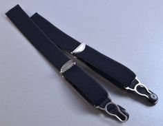 2 x 20mm verstellbare Strapsbänder mit Strumpfhalterclip und Satinbändchen zum Annähen in schwarz