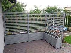 Backyard Patio Designs, Backyard Landscaping, Back Gardens, Outdoor Gardens, Garden Privacy Screen, Privacy Planter, Patio Fence, Backyard Makeover, Small Garden Design