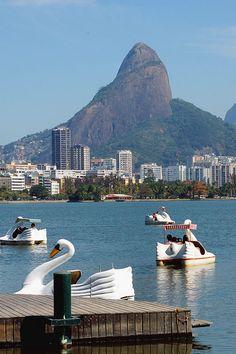 Lagoa, Rio de Janeiro, Brazil — I really want to have a swan boat race :)
