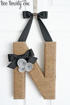 two twenty one: jute wrapped monogram wreath tutorial