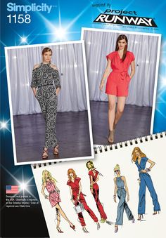 Express your style with a fashion-forward jumpsuit or romper with Simplicity sewing pattern 1158. Inspired by Project Runway.