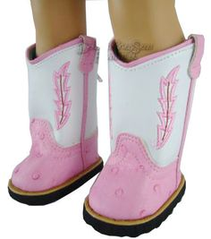 """White/Pink Western Cowboy Boots for 18"""" American Girl Doll Clothes #DollClothesSewBeautiful"""