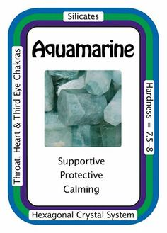 """1/29/14: Crystal Card of the Day: Aquamarine """"My heart and mind are in harmony."""" Carrying Aquamarine can help to remind us to be prepared for most any scenario that could be encountered. Aquamarine works with the Heart Chakra by helping one to realize their innermost truth. Aquamarine can also facilitate the releasing of old patterns of behavior that no longer serve. Meditating with Aquamarine can bring new insights from the higher self to be applied in daily life."""