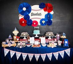 Sporty Home Run Baseball Theme: – Chalkboard backdrop with decorative baseball board with tissue paper balls & rosettes