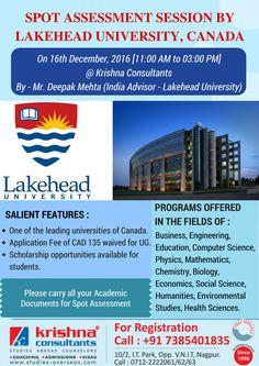 Spot Assessment Session by #Lakehead #University, Thunderbay, Ontario, Canada on 16th December, 2016, @ Krishna Consultants #Nagpur.