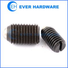 Slotted grub screws ball ended black galvanizing set screw headless