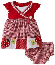 Reminds me if Mercedes ;-) She always looked beautiful in red!  Baby-girls Infant Short Sleeve Ladybug Pocket Seersucker Dress With Diaper Cover $16.80