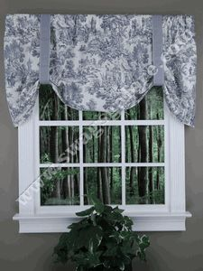 Victoria Park Toile is an elegant large scale toile printed on 100% off white cotton duck. #Country #Style #Valances