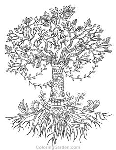Free printable tree of life adult coloring page. Download it in PDF format at http://coloringgarden.com/download/tree-of-life-coloring-page/