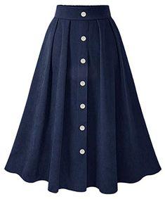 Casual Pleated Skirt 2018 Fall Winter A Line Button Retro Elastic Wasit Midi Calf Skirts Dark Blue Dark Jupe Saia Dark Mode Outfits, Skirt Outfits, Dress Skirt, Midi Skirt, Pleated Skirt, Modest Fashion, Hijab Fashion, Fashion Dresses, Women's Fashion