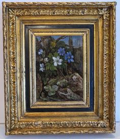 Antique flower painting, oil on canvas, signed and dated ca. Canvas Signs, Oil On Canvas, Dating, Blue And White, Paintings, Antiques, Flowers, Beautiful, Art