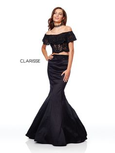 4932 - Black two piece trumpet dress with an off the shoulder lace top