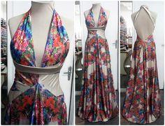 Vestido de seda estampado, frente única com detalhe na faixa lisa terminando em alça nas costas. #vestido #dress #seda