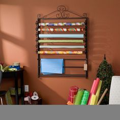 Harper Blvd Leal Black Wrapping Paper & Craft Storage Rack | Overstock.com Shopping - The Best Deals on Scrapbooking Organizers