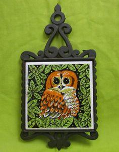 Vintage Ceramic Tile/  Wrought Iron Owl Trivet by thebombshelter1, $14.95